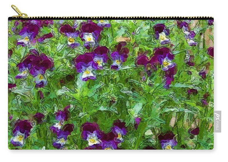 Digital Photograph Carry-all Pouch featuring the photograph Field Of Pansy's by David Lane