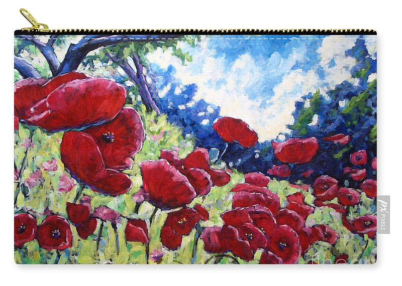 Poppies Carry-all Pouch featuring the painting Field Of Poppies 02 by Richard T Pranke