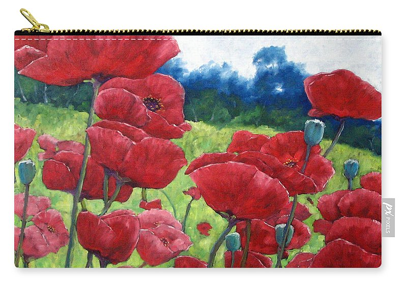 Poppies Carry-all Pouch featuring the painting Field Of Poppies by Richard T Pranke