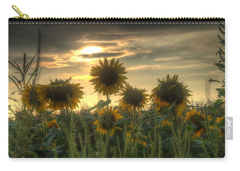 Sunflower Carry-all Pouch featuring the photograph Field Of Sunflowers by John Dauer