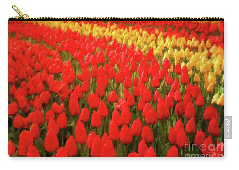 Landscape Carry-all Pouch featuring the painting Field Of Tulips by Sarah Kirk