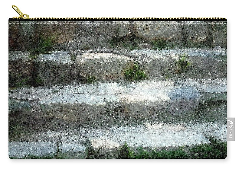 Connecticut Carry-all Pouch featuring the digital art Fieldstone Stairs New England by RC DeWinter