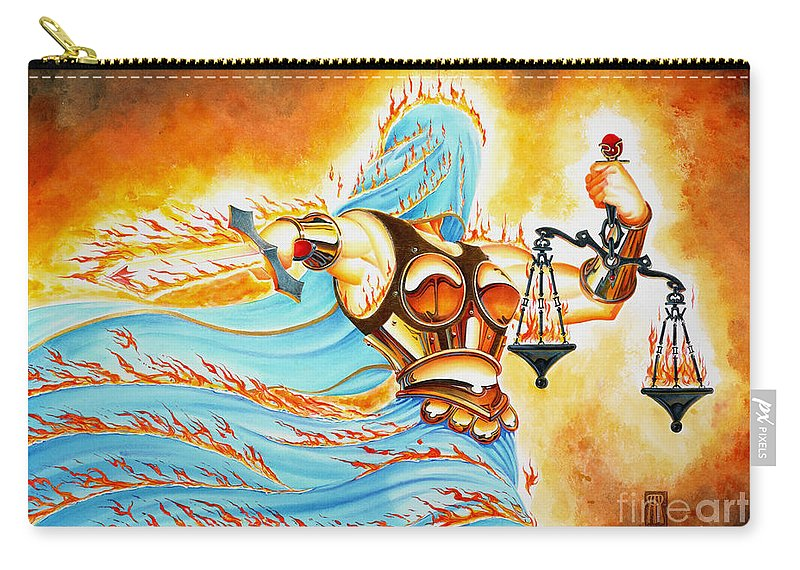 Fantasy Carry-all Pouch featuring the drawing Fiery Justice by Melissa A Benson