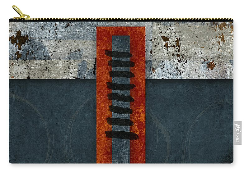 Red Carry-all Pouch featuring the photograph Fiery Red And Indigo One Of Two by Carol Leigh