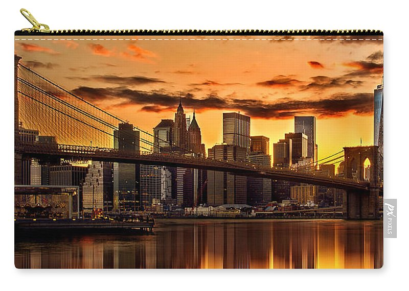 New York City Carry-all Pouch featuring the photograph Fiery Sunset Over Manhattan by Az Jackson