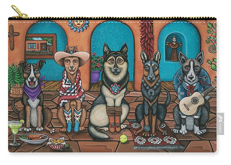 Dogs Carry-all Pouch featuring the painting Fiesta Dogs by Douglas Jones