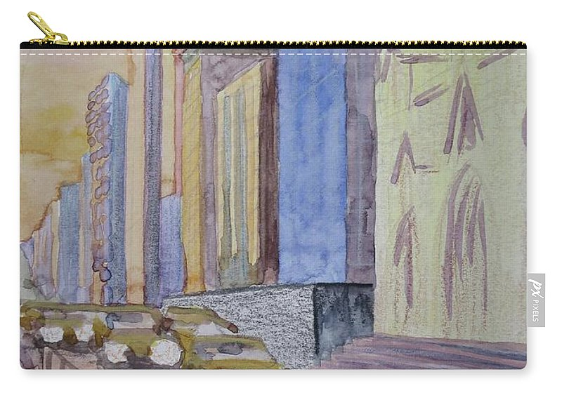 5th Ave Carry-all Pouch featuring the painting Fifth Ave At Dawn by Bethany Lee