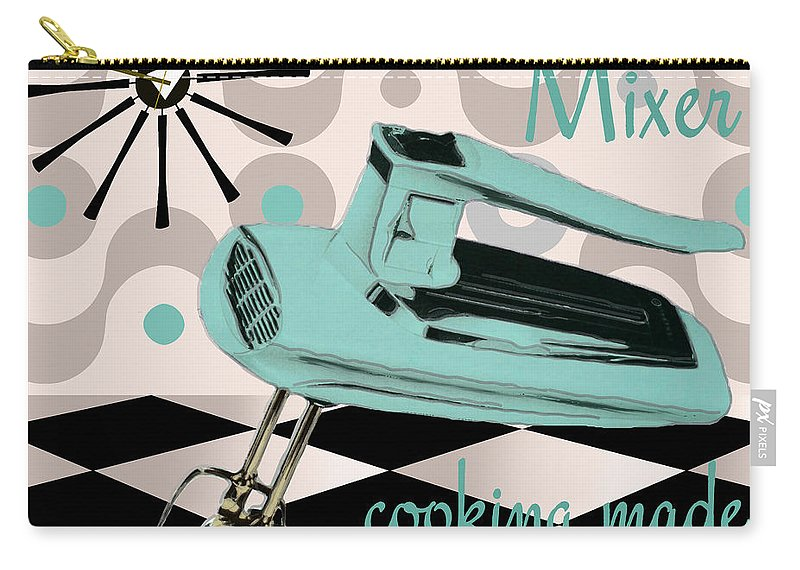 Vintage Mixer Carry-all Pouch featuring the painting Fifties Kitchen Portable Mixer by Mindy Sommers
