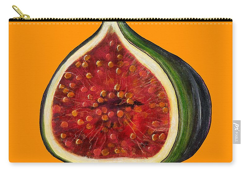 Fig Carry-all Pouch featuring the painting Fig On Orange by Sarah Thompson-Engels