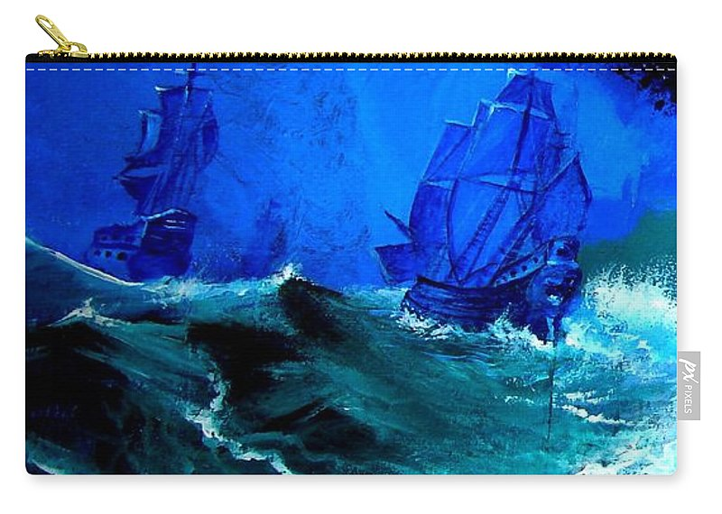 Seascape Carry-all Pouch featuring the painting Fight For Life by Glory Fraulein Wolfe