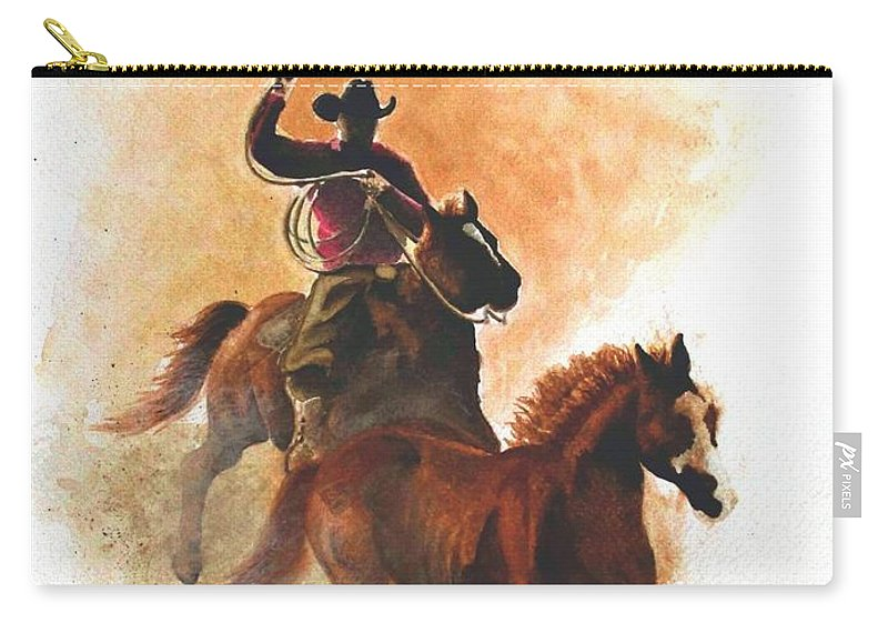 Western Carry-all Pouch featuring the painting Fighting For Freedom by Jimmy Smith