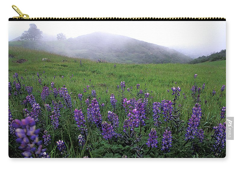 Figueroa Mountain Carry-all Pouch featuring the photograph Figueroa Mountain With Fog by Kathy Yates