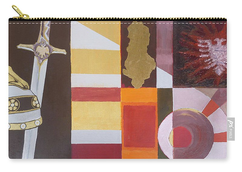 Oil Carry-all Pouch featuring the painting Figurativ Albanian Simbols by Alban Dizdari