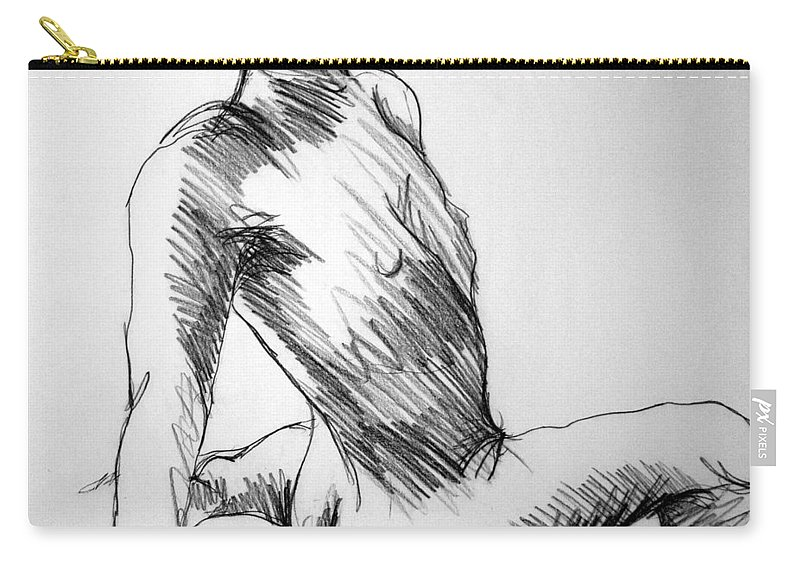 Figure Carry-all Pouch featuring the drawing Figure Drawing 1 by Nancy Mueller