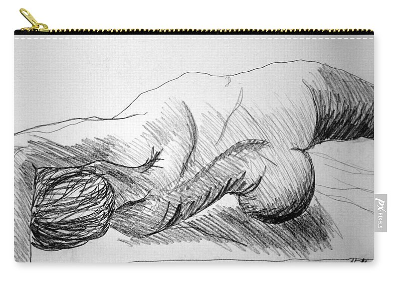 Figure Carry-all Pouch featuring the drawing Figure Drawing 2 by Nancy Mueller