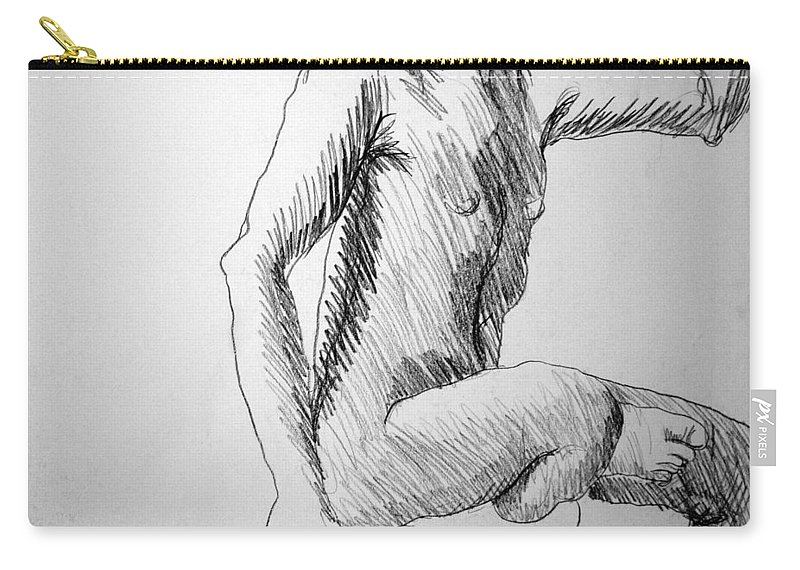 Figure Carry-all Pouch featuring the drawing Figure Drawing 3 by Nancy Mueller