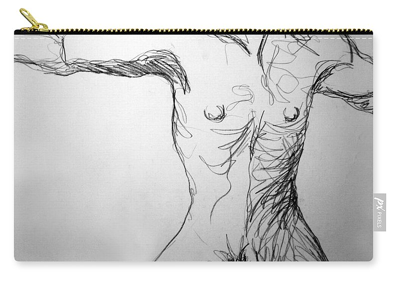 Figure Carry-all Pouch featuring the drawing Figure Drawing 5 by Nancy Mueller