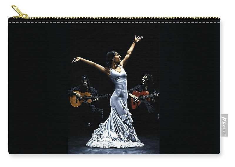 Flamenco Carry-all Pouch featuring the painting Finale del Funcionamiento del Flamenco by Richard Young