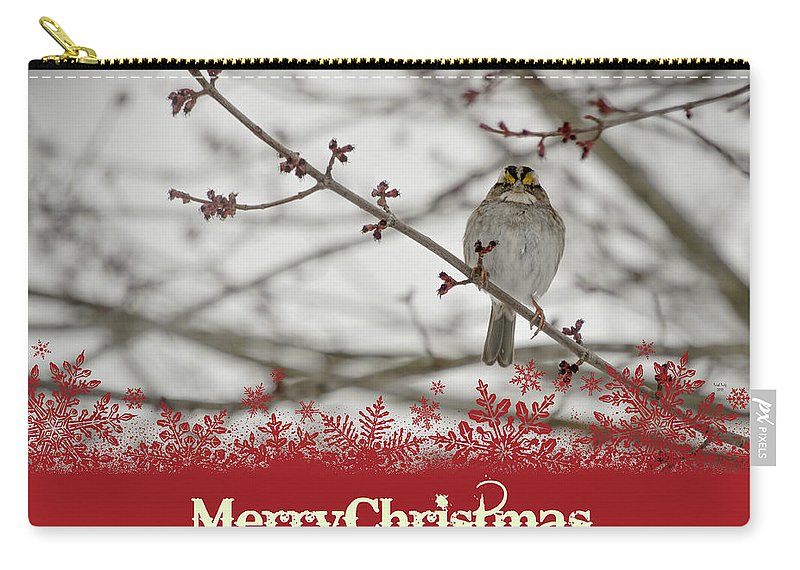 Christmas Carry-all Pouch featuring the mixed media Finch Christmas by Trish Tritz