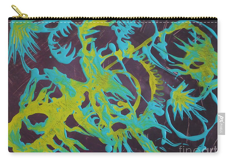 Abstract Carry-all Pouch featuring the painting Find A Cure by Monika Shepherdson