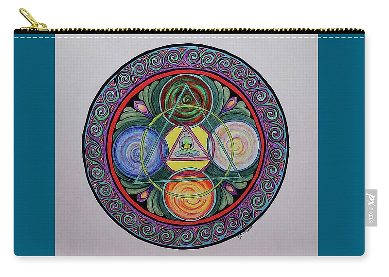 Meditation Carry-all Pouch featuring the drawing Finding Balance by Sandra Borrmann