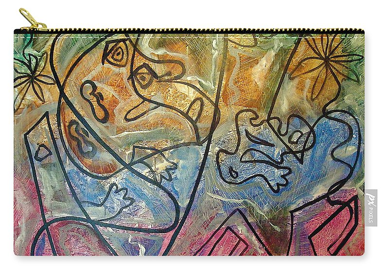 Modern Abstract Carry-all Pouch featuring the painting Finding Sun by W Todd Durrance