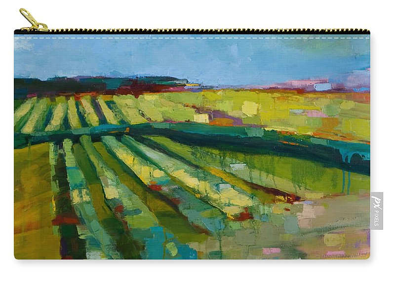 Landscape Carry-all Pouch featuring the painting Fine Fields by Michele Norris