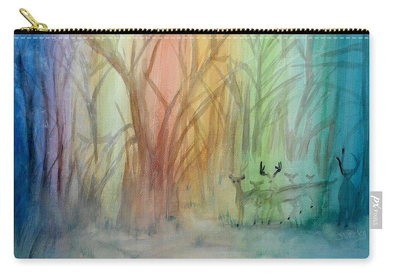 Rainbow Carry-all Pouch featuring the painting Finian's Rainbow by Donna Blackhall