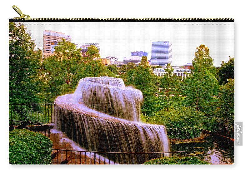Finlay Park Fountain Carry-all Pouch featuring the photograph Finlay Park Fountain Summertime by Lisa Wooten