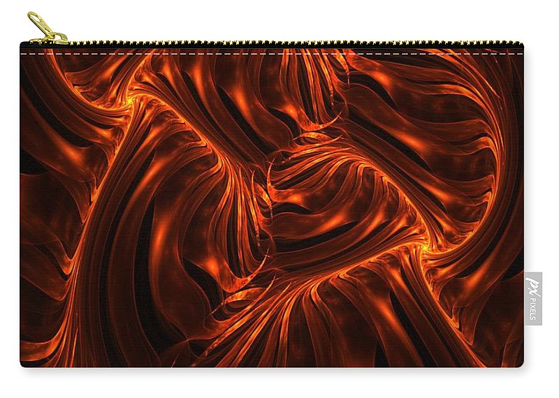 Fire Carry-all Pouch featuring the digital art Fire Abstraction by David Lane