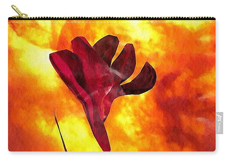 Floral Carry-all Pouch featuring the mixed media Fire And Flower by Sarah Loft