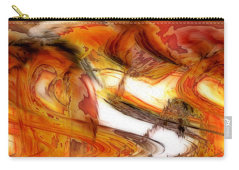 Abstract Art Carry-all Pouch featuring the digital art Fire And Rain by Linda Sannuti