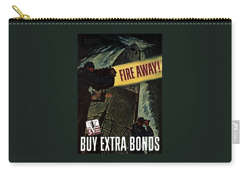 Navy Carry-all Pouch featuring the painting Fire Away by War Is Hell Store