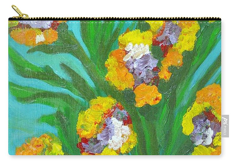 Flower Carry-all Pouch featuring the painting Fire Blossoms by Laurie Morgan
