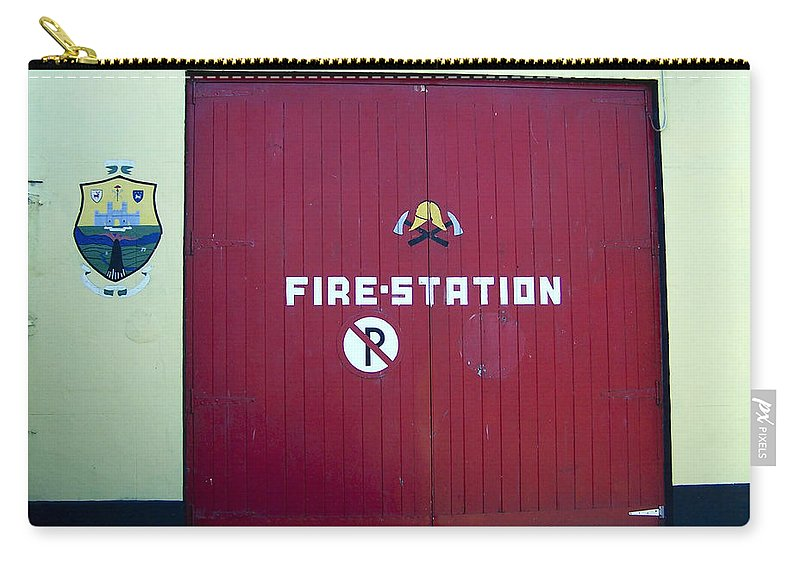 Irish Carry-all Pouch featuring the photograph Fire Door In Macroom Ireland by Teresa Mucha
