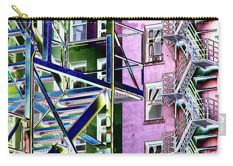Fire Carry-all Pouch featuring the digital art Fire Escape 2 by Tim Allen