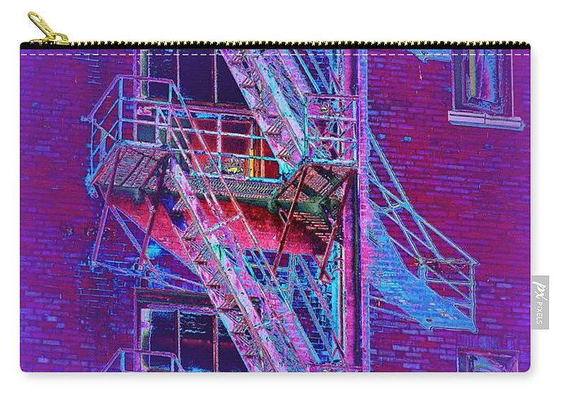 Fire Escape Carry-all Pouch featuring the photograph Fire Escape 4 by Tim Allen