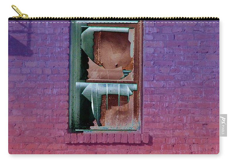 Architecture Carry-all Pouch featuring the photograph Fire Escape Window 2 by Tim Allen