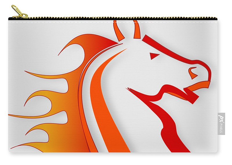 Horse Carry-all Pouch featuring the digital art Fire Horse by Scott Davis