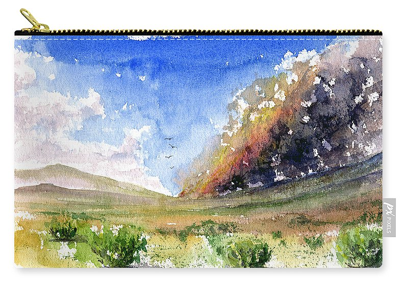Fire Carry-all Pouch featuring the painting Fire In The Desert 1 by John D Benson