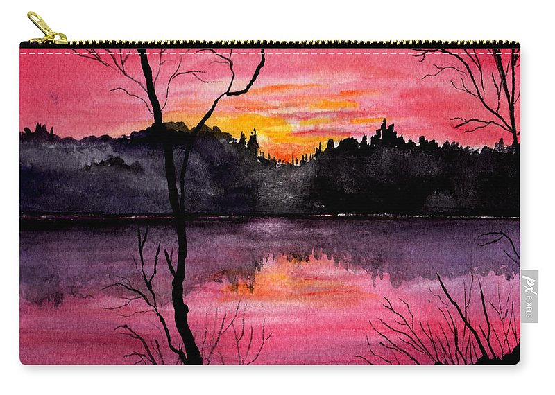 Landscape Carry-all Pouch featuring the painting Fire In The Sky  Lake Arrowhead Maine by Brenda Owen
