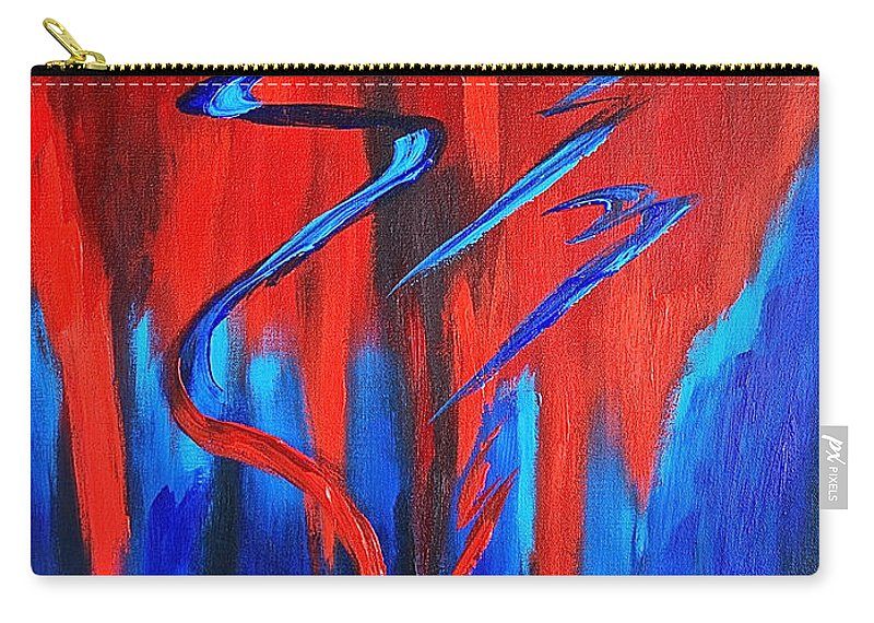 Abstract / Sexy Red And Blue By Herschel Fall Carry-all Pouch featuring the painting Fire Lake by Herschel Fall