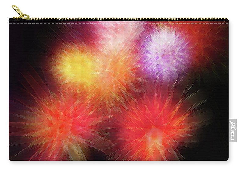 Fireworks Carry-all Pouch featuring the digital art Fire Mums Floral - Fireworks Collage by Steve Ohlsen