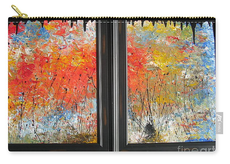 Fire Carry-all Pouch featuring the painting Fire On The Prairie by Jacqueline Athmann