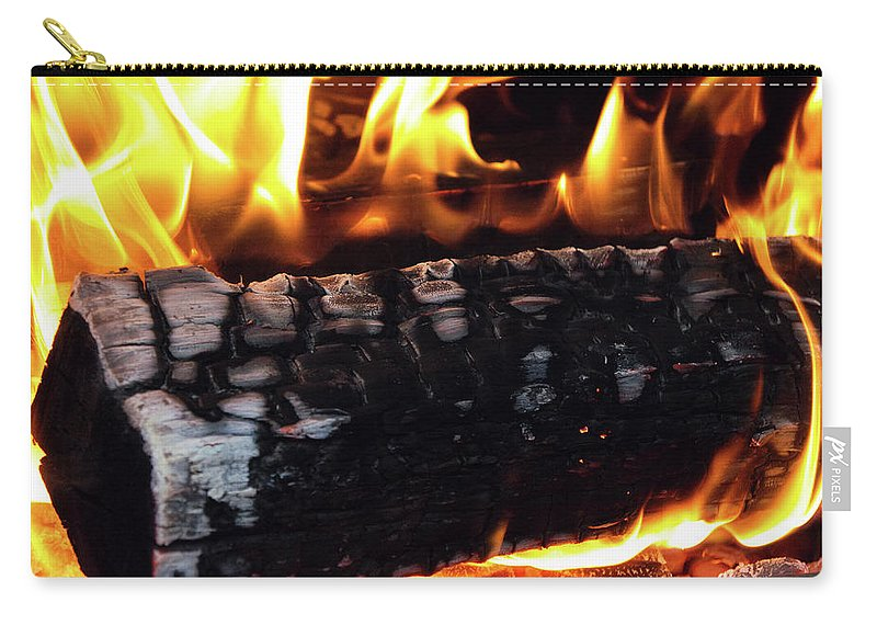Firewood Carry-all Pouch featuring the photograph Fire On Wood by Jay Anthony