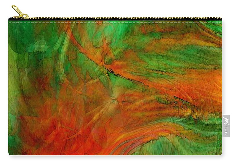 Abstract Art Carry-all Pouch featuring the digital art Fire Tree by Linda Sannuti