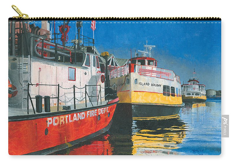 Fireboat Carry-all Pouch featuring the painting Fireboat And Ferries by Dominic White