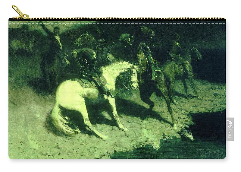 Carry-all Pouch featuring the painting Fired On by Frederic Sackrider Remington
