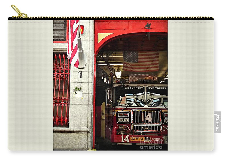 Firemen Carry-all Pouch featuring the photograph Firefighters Of New York - Engine Sweet 14 - Closeup by Miriam Danar