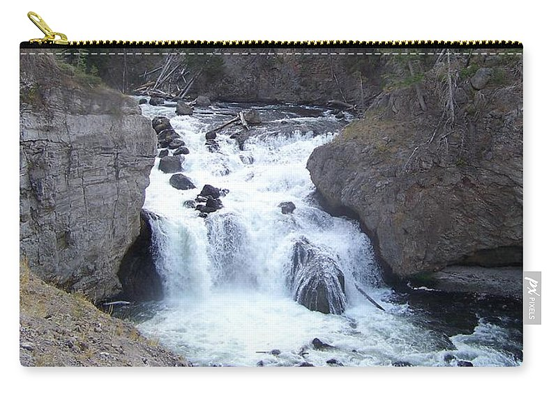 Waterfall Carry-all Pouch featuring the photograph Firehole Falls by Charles Robinson